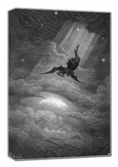 Dore, Gustave: Satan from Paradise Lost by John Milton. Fine Art Canvas. Sizes: A4/A3/A2/A1 (001836)
